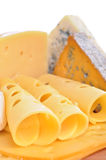 Various types of cheese composition isolated. On white background stock images
