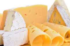 Various types of cheese composition isolated Royalty Free Stock Photo