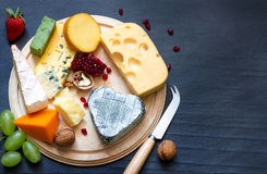 Various types of cheese on cutting board Royalty Free Stock Photos