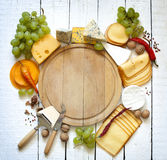 Various types of cheese with empty space background Stock Images