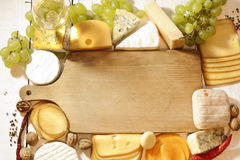 Various types of cheese with empty space background. Concept stock photography