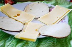 Various types of cheese. On green background royalty free stock image