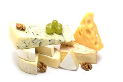 The Various types of cheese isolated on white Royalty Free Stock Photos