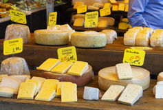 Various types of cheese. On market in Nunich stock photography