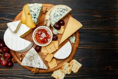 Various types of cheese - parmesan, brie, roquefort, cheddar Royalty Free Stock Photo
