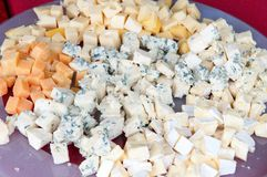 Various types of Cheese. Platter full of various types of cheese Stock Photo