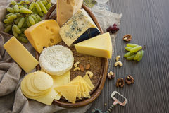Various types of cheese set Royalty Free Stock Images