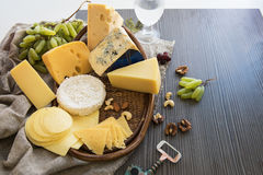 Various types of cheese set Stock Images