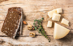Various types of cheese. With thyme Royalty Free Stock Images