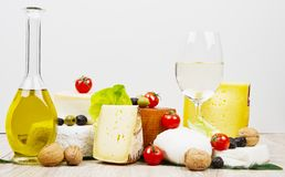 Various types of cheese on white wood. Some Various types of cheese on white wood stock image
