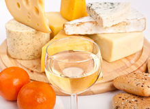 Various types of cheese with wine Stock Image