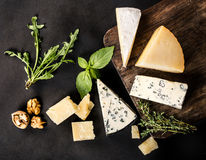 Various types cheese. On wood royalty free stock image