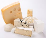 Various types of cheeses. Various types of cheeses on a white background royalty free stock photo