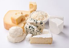 Various types of cheeses. Various types of cheeses on a white background royalty free stock photos
