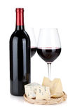 Various types of cheeses and red wine Royalty Free Stock Images
