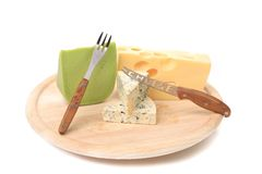 Various types of cheeses on wood. Stock Photo