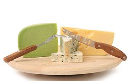 Various types of cheeses on wood Royalty Free Stock Photos