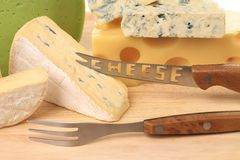 Various types of cheeses on wood Royalty Free Stock Photography