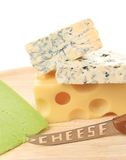 Various types of cheeses on wood. Royalty Free Stock Photo