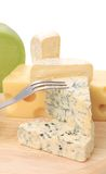 Various types of cheeses on wood. Stock Photography