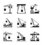 Various types of cranes Royalty Free Stock Images