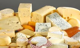 Various types of delicious cheese. Close up royalty free stock photography