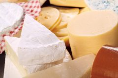 Various types of delicious cheese. Close up Royalty Free Stock Images