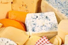 Various types of delicious cheese. Close up Stock Photo