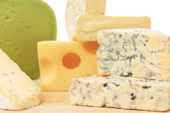 Various types of delicious cheeses Stock Photo
