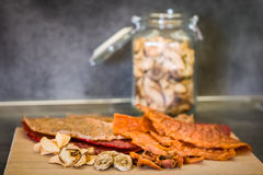 Various types of dried fruits in kitchen Stock Photo