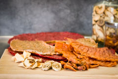 Various types of dried fruits on the kitchen table Royalty Free Stock Photos