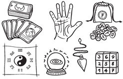 Various types of fortune telling. Hand drawn illustration Stock Photo