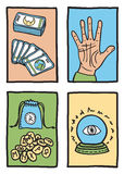 Various types of fortune telling. Hand drawn illustration Stock Photography
