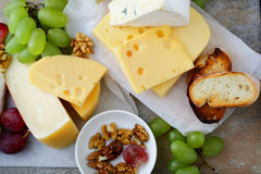 Various types of fresh Cheeses Royalty Free Stock Images