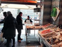 Fish on fishmonger`s slab in Fiumicino port in Italy. Various types of fresh fish in a fishmonger in the port of Fiumicino near Rome. Fiumicino is a small port royalty free stock images