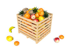 Various types of fruit stored in wooden box on white background Stock Images