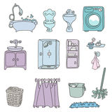 Various types of furniture for bathroom in elegant style Royalty Free Stock Photos