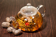 Various types of hand made blooming tea Royalty Free Stock Images