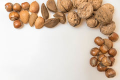 Various types of healthy nuts. Walnuts, Almonds, Brazil nuts, hazel nuts stock images