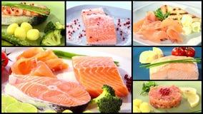 Various types of Irish salmon. Composition stock video footage