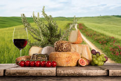 Various types of italian cheeses Stock Photo