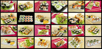 Various types of Japanese rolls and snacks. Stock Photos