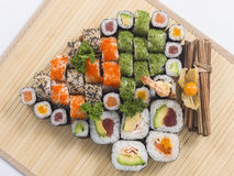 Various types of japanese sushi Stock Photos