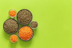 Various types of lentil on a green background with space for text. Various types of lentils on a green background with space for text assimilable allspice diet stock images