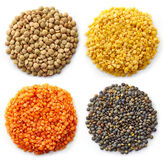 Various types of lentils Stock Photography