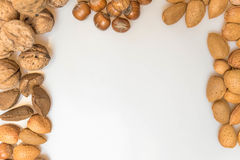 Various types of nuts. Walnuts, Almonds, Brazil nuts, hazel nuts royalty free stock photography