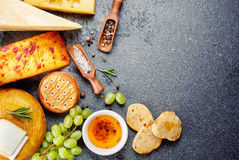 Various Types Of Cheese With Snack Stock Photos