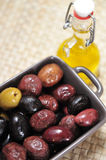 Various types of olives Stock Photo
