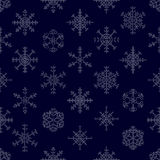 Various types of outline white snowflakes seamless pattern eps10 Stock Photos