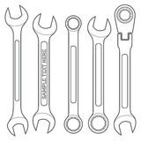 Various types outline wrench set Royalty Free Stock Images